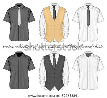 b0cbf6ad2b9618 Formal shirts (button-down collar) with and without neckties and waistcoat.  Short and long sleeve variants of shirt. Vector illustration. - Vector
