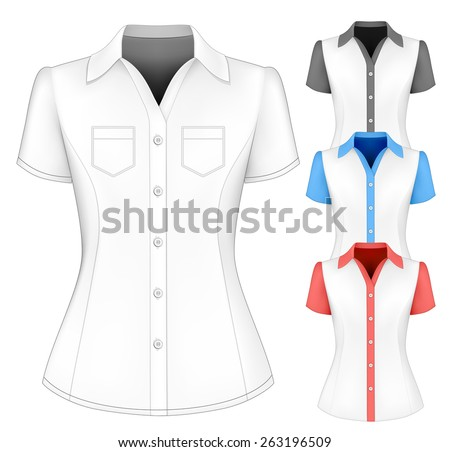 b93442a5f4c12d Formal Short Sleeved Blouses Lady Vector Stock Vector (Royalty Free ...