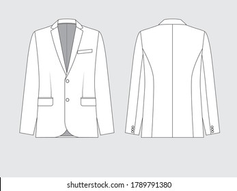 formal suit, flat pattern, vector