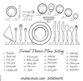 Formal table setting. The plan for the cutlery on the table. Vector illustration  sc 1 st  Shutterstock & Formal Table Setting Images Stock Photos u0026 Vectors | Shutterstock