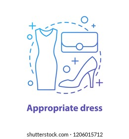 Formal wear concept icon. Appropriate dress idea thin line illustration. Holiday women's clothing and accessories. Vector isolated outline drawing