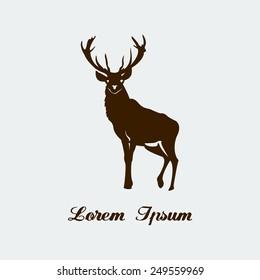 Format eps 10.  Stencil of forest deer