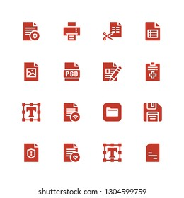 format icon set. Collection of 16 filled format icons included Doc, Text editor, File, Floppy disk, Files, Psd, Jpeg, Printing machine