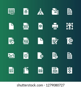 format icon set. Collection of 25 filled format icons included File, Floppy disk, Jpeg, Photography, Psd, Text editor, Printing machine, Doc, Tipi, Jpg