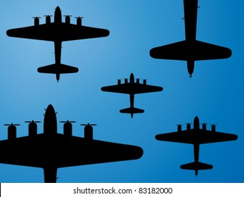 Formation of american bombers from second world war. Vector illustration.