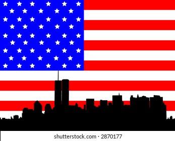 Former Lower Manhattan skyline and American Flag illustration