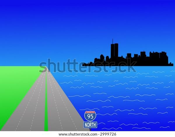 Former Lower Manhattan skyline and interstate 95 illustration
