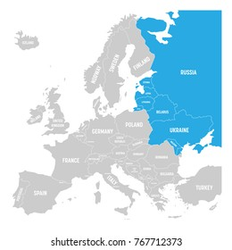 Former Union of Soviet Socialist Republics, USSR, Russia, Ukraine, Belarus, Estonia, Latvia, Lithuania and Moldova blue highlighted in the political map of Europe. Vector illustration.