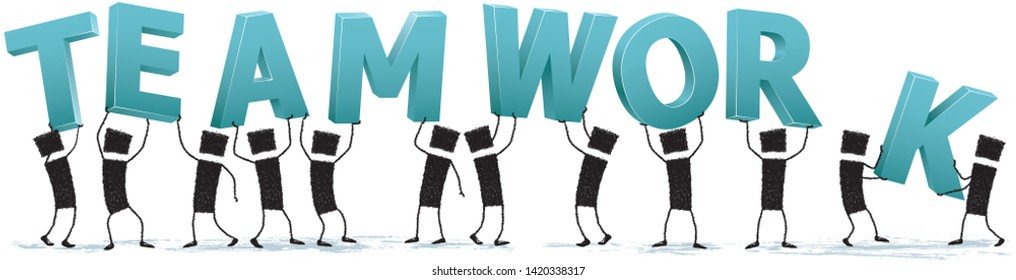 Forming a teamwork, isolated on white background. A group of people holding some letters above their heads. The letters form the word Teamwork. Stick figures on white background.