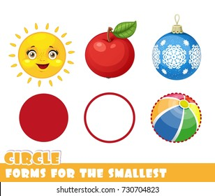 Forms for the smallest. Circle and objects having a circle shape on a white background developing game