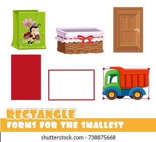 Forms for the smallest. Rectangle and objects having a vertical and horizontal rectangle shape on a white background developing game