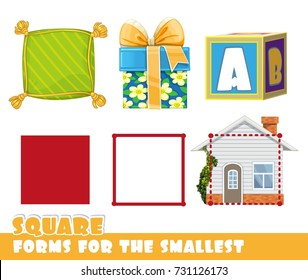 Forms for the smallest. Square and objects having a Square shape on a white background developing game
