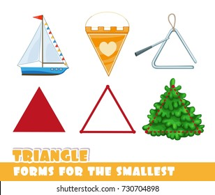 Forms for the smallest. Triangle and objects having a triangular shape on a white background developing game