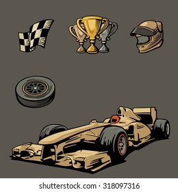 Formula 1 Car Sport Set Symbols Icon Vector Vintage Illustration Handmade Isolated On Dark Background