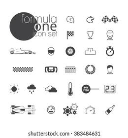 Formula 1 icon set. Vector illustration isolated on white background