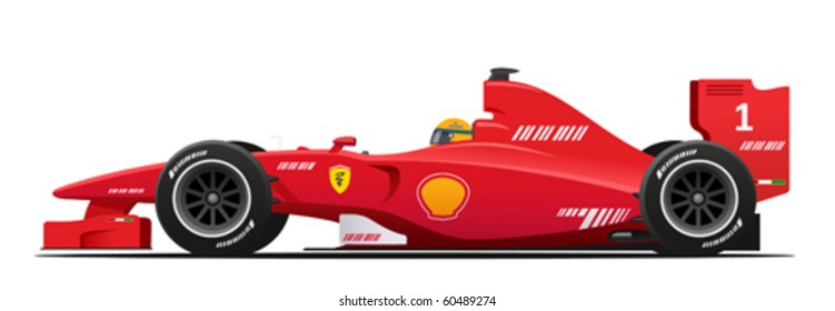 Formula 1 Race Red Detailed Car