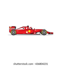 Formula 1 Red Race Car Isolated On White Background Vector Illustration