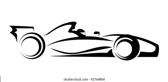 Formula 1 Symbol Racing Car Vector Icon