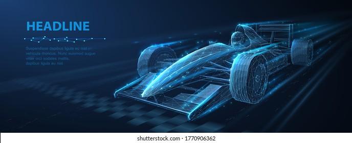 Abstrakter Vektor 3d rasecar auf der Schnellstraße. Schnelle Bewegung. Ziehe die Linie zu Ende. Erfolg im Wettbewerb, Rentner, Business-Win-Konzept. Auto Sport, schnelles Automobil-Symbol