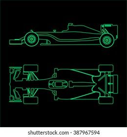 Formula one, linear light silhouette of a racing car isolated on black background. Top view and side view. Vector illustration