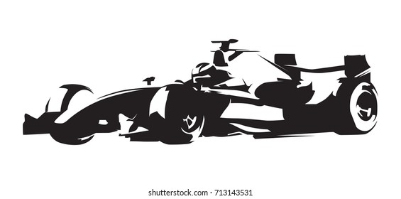 Formula race car, abstract vector silhouette. Motorsport icon