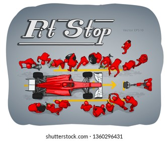 Formula race car in pit stop vector sketch