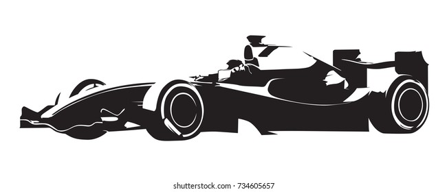 Formula racing car, abstract vector silhouette