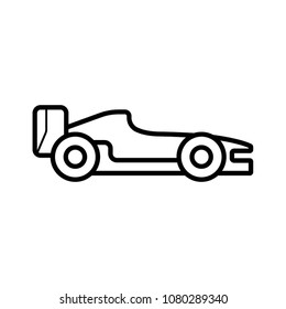 Formula racing car, isolated vector silhouette. Side view