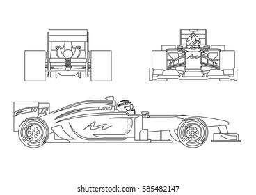 Formula Racing Car In Outline Vector