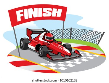 formula racing car reach the finish line
