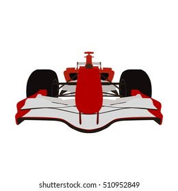 Formula racing car, red sports car, vector isolated illustration