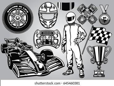 formula racing set black and white