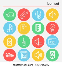 Formula, zip, links, code, sending, lightbulb, blueprint, militar radio, chevron, connector icon set suitable for info graphics, websites and print media and interfaces