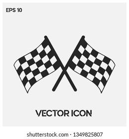 Formula1 finish flag vector icon illustration. Premium quality.