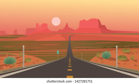Forrest Gump Point, Monument Valley, Arizona. Highway in Monument Valley, Navajo Tribal Park. Vector illustration