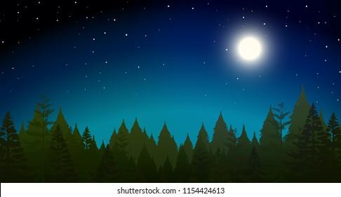 forrest at night scene illustration
