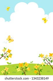 Forsythia flowers with butterflies.Spring background