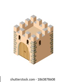 Fort ancient historic antique fortress castle isometric building protect the medieval city