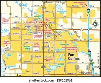 Fort Collins, Colorado area map