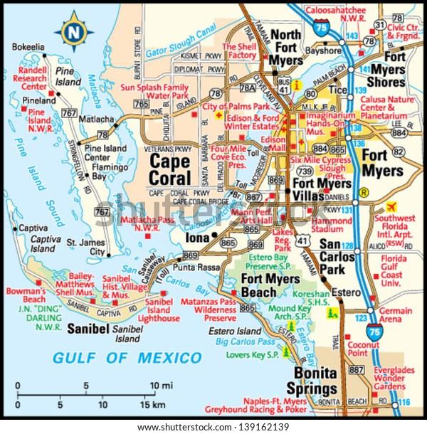 Fort Myers Florida Area Map Stock-Vrgrafik (Lizenzfrei) 139162139 on