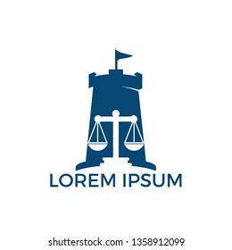 Fort and Scale of justice icon logo design. Law firm, lawyer or law office symbol.