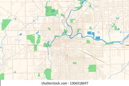 Fort Wayne Indiana printable map excerpt. This vector streetmap of downtown Fort Wayne is made for infographic and print projects.