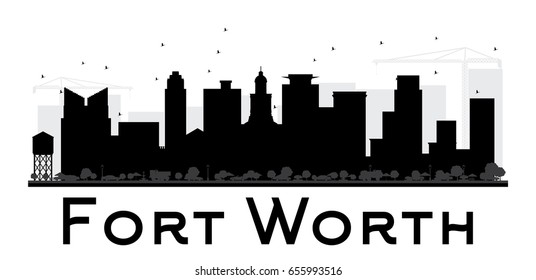 Fort Worth City skyline black and white silhouette. Simple flat concept for tourism presentation, banner, placard or web site. Cityscape with landmarks. Vector illustration.