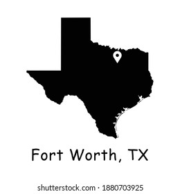 Fort Worth on Texas State Map. Detailed TX State Map with Location Pin on Fort Worth City. Black silhouette vector map isolated on white background.