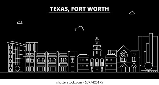 Fort Worth silhouette skyline. USA - Fort Worth vector city, american linear architecture, buildings. Fort Worth travel illustration, outline landmarks. USA flat icon, american line banner