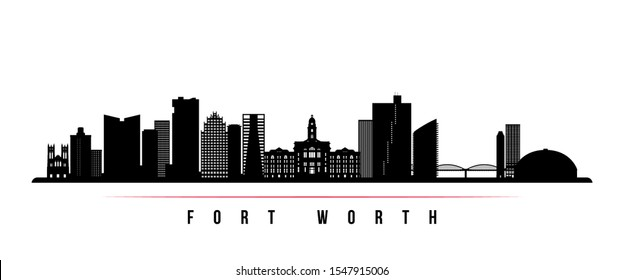 Fort Worth skyline horizontal banner. Black and white silhouette of Fort Worth, Texas. Vector template for your design.