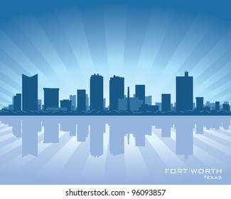 Fort Worth skyline illustration with reflection in water