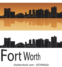 Fort Worth skyline in orange background in editable vector file