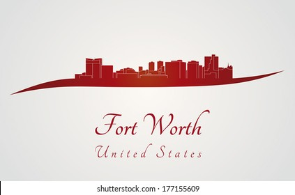 Fort Worth skyline in red and gray background in editable vector file