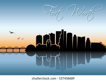 Fort Worth skyline, Texas - vector illustration